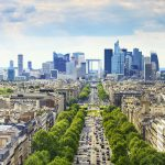 Where are the main business districts in Paris and its suburbs?